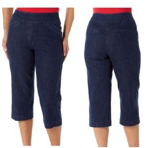 💰3x20 petite Dark Blue pull on Capris Jeans Sz 6P